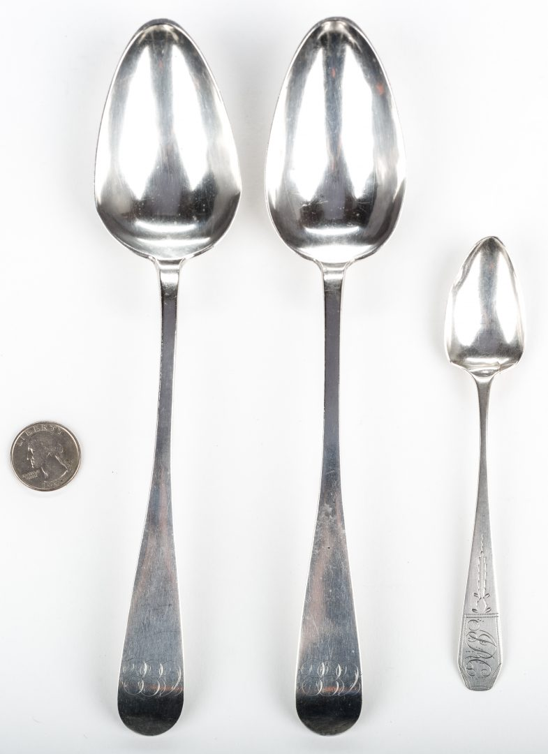 Lot 283: 3 Virginia Coin Silver Spoons, Woltz and Young