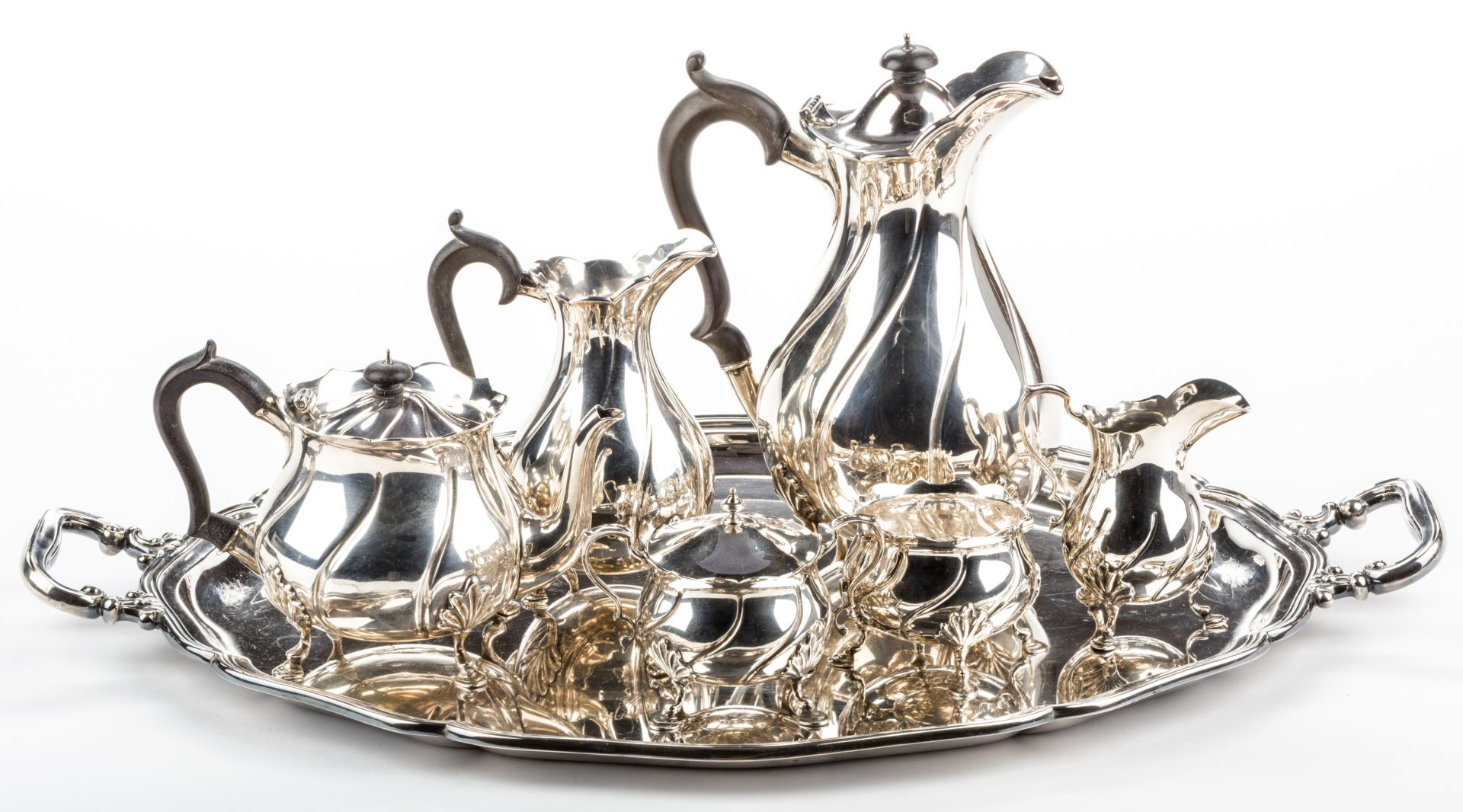 Lot 297: 6 pc. English Sterling Tea Set, plus more, 11 total pcs.