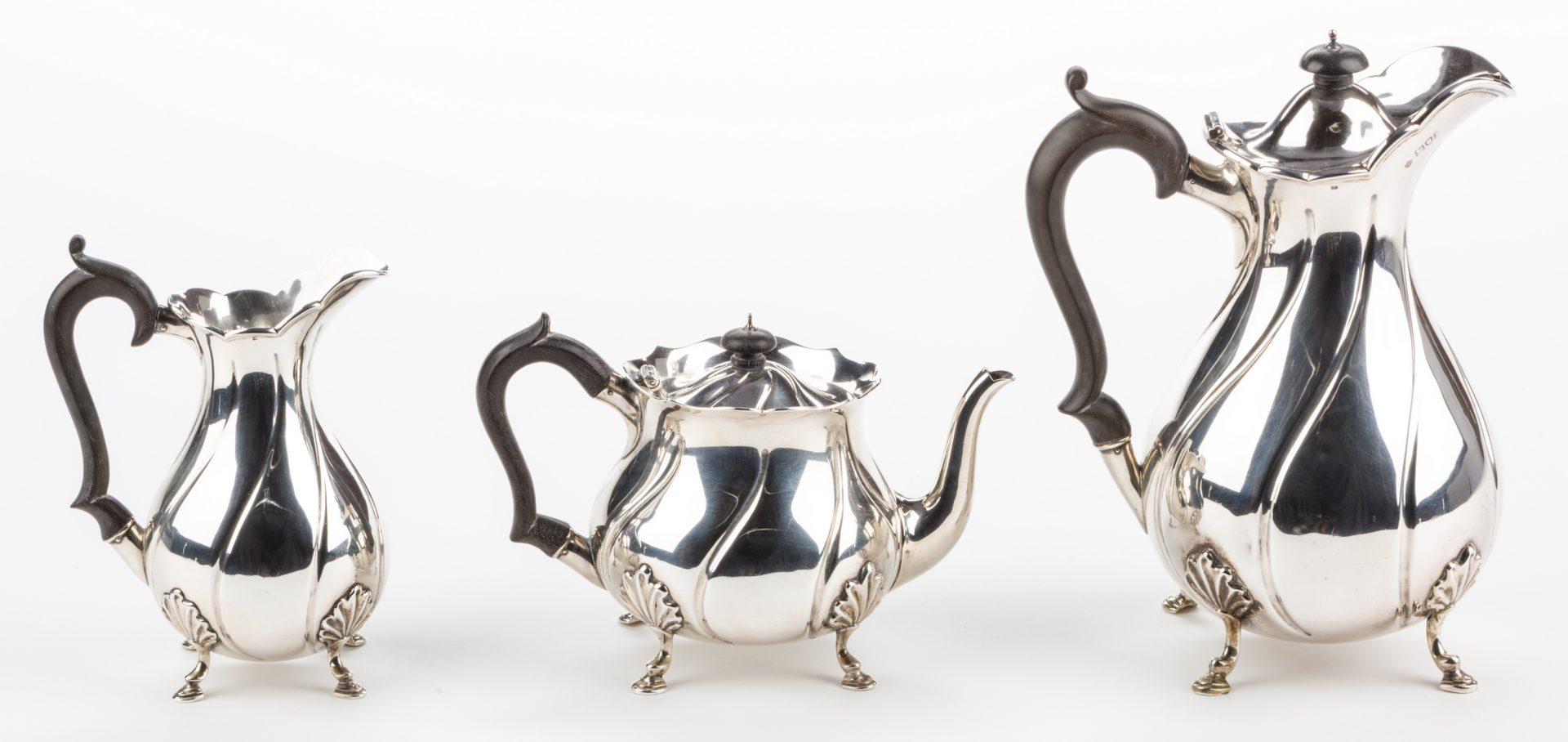 Lot 297: 6 pc. English Sterling Tea Set, plus more, 11 total pcs.