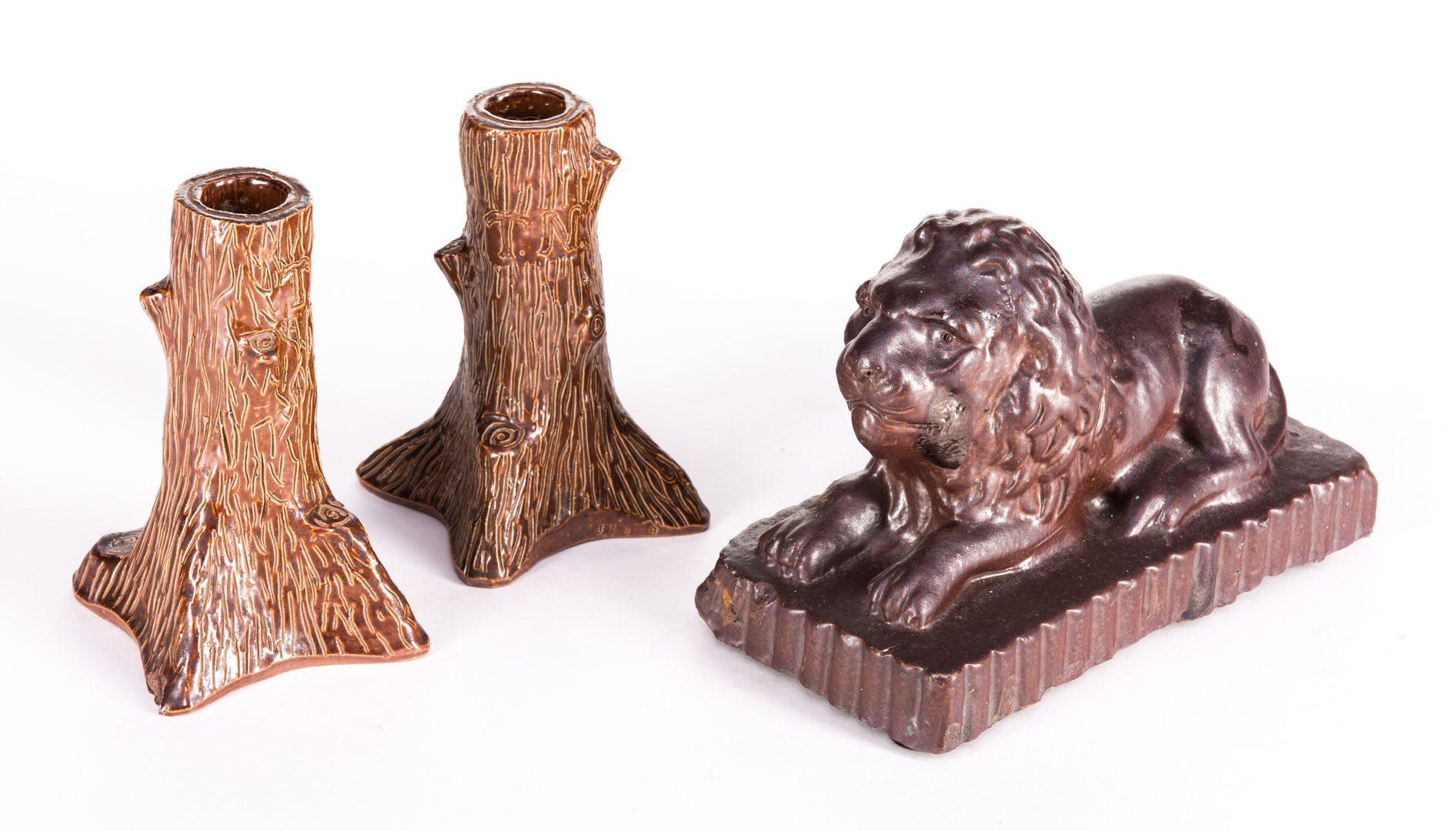 Lot 331: 2 Folk Art Pottery Candlesticks & Lion Sewer Tile Doorstop