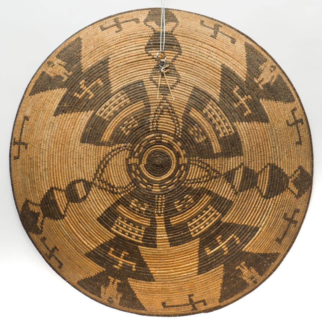 Lot 385: Large Apache Tray Basket w/ Figures; Crosses
