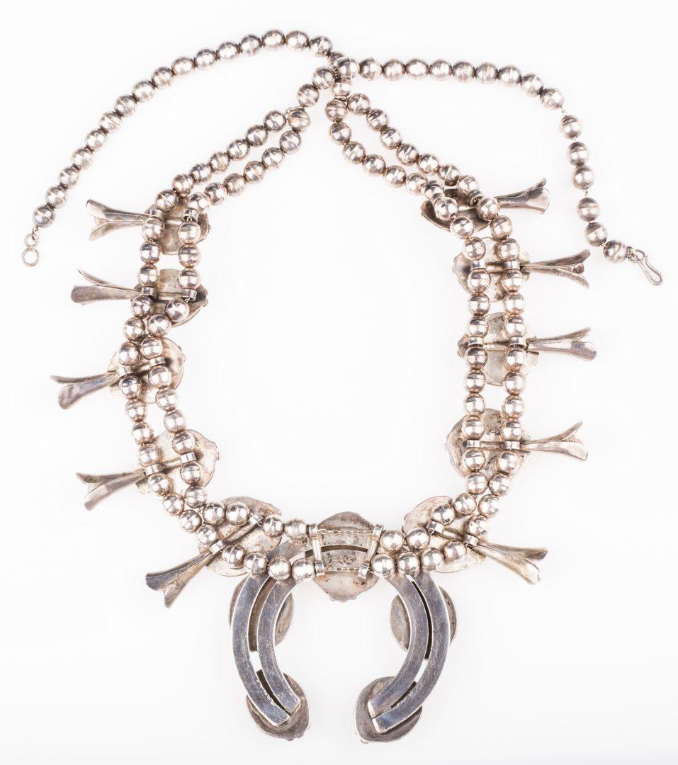 Lot 393: Native American Squash Blossom Necklace & Cuff