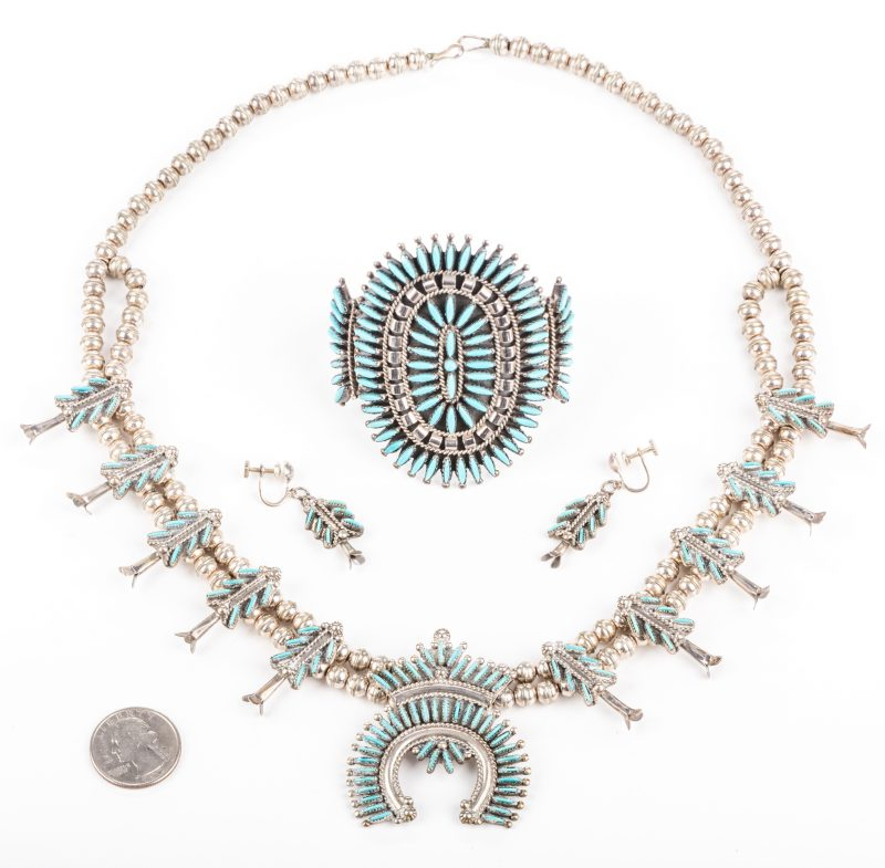 Lot 395: Zuni Needlepoint Necklace, Earrings, Cuff