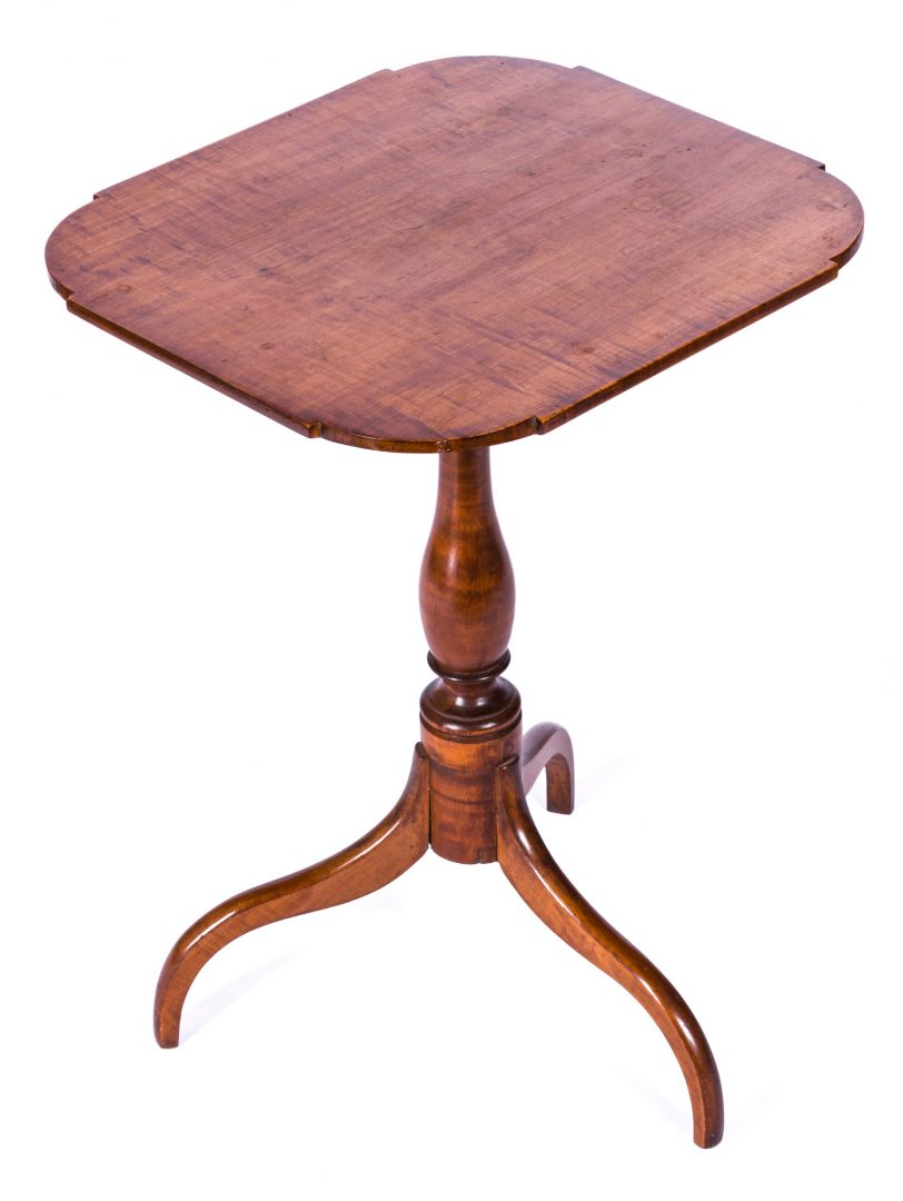 Lot 600: American Tiger Maple Candle Stand