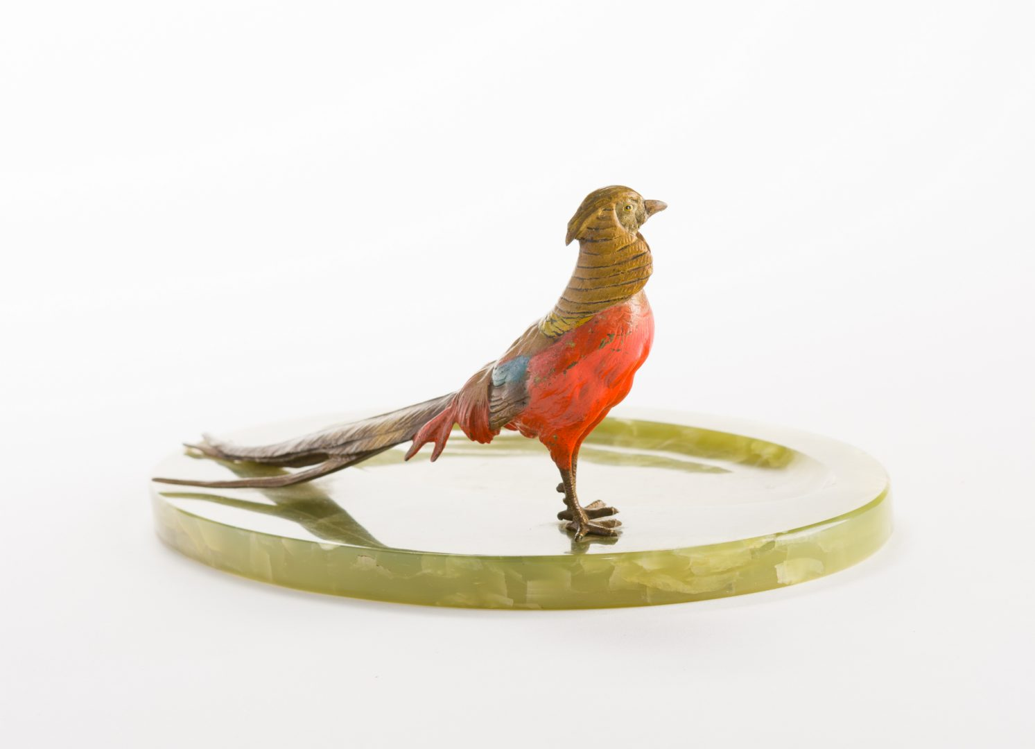Lot 624: Austrian Bronze Pheasant with Green Onyx Tray
