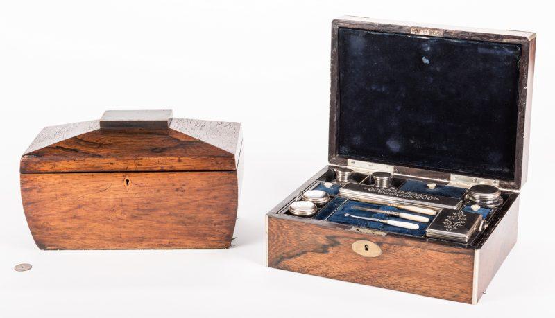 Lot 628: English Rosewood Tea Caddy & Vanity Box, 2 items