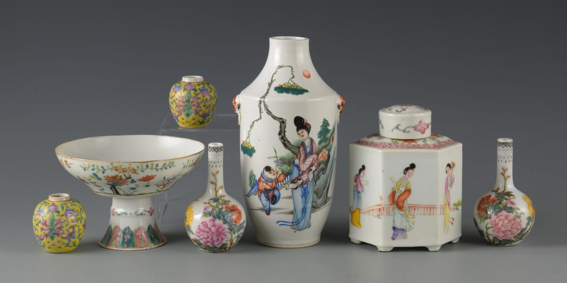 Lot 648: 7 Chinese Famille Rose Porcelain Items