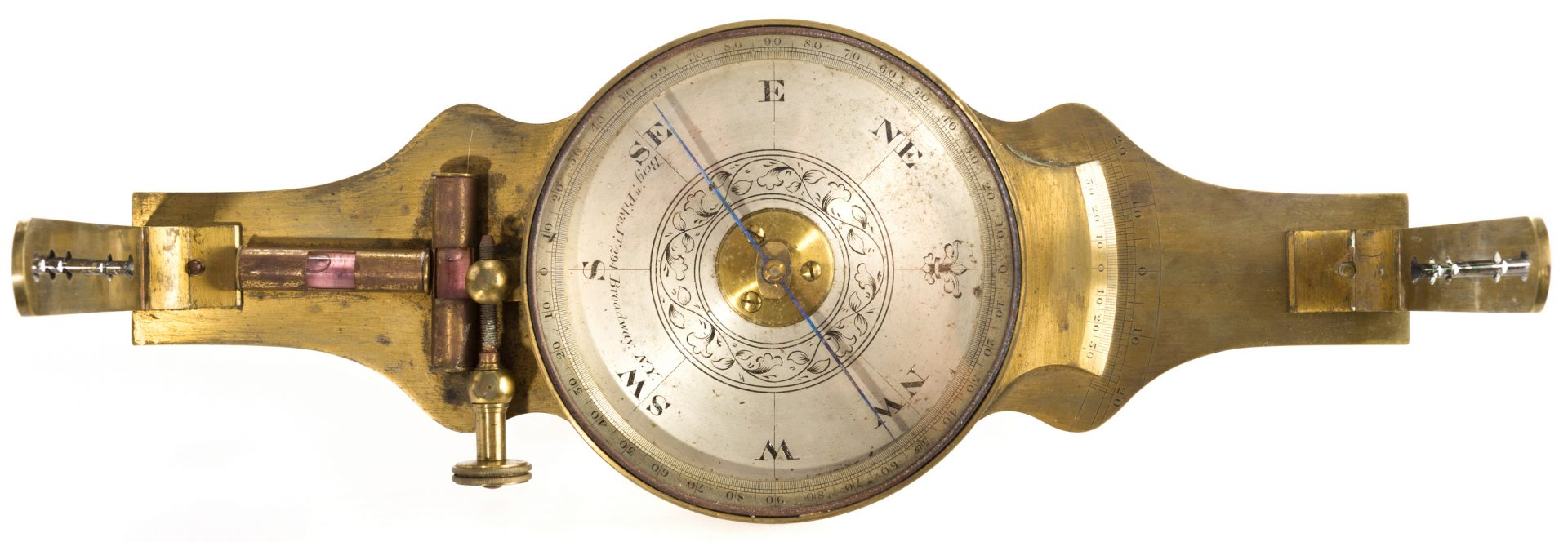 Lot 709: 19th Cent. Brass Surveyor's Compass, Benjamin Pike
