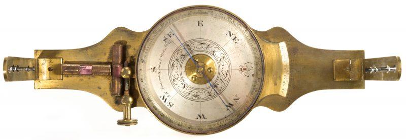 Lot 709: 19th Cent. Brass Surveyor's Compass, Benjamin Pike
