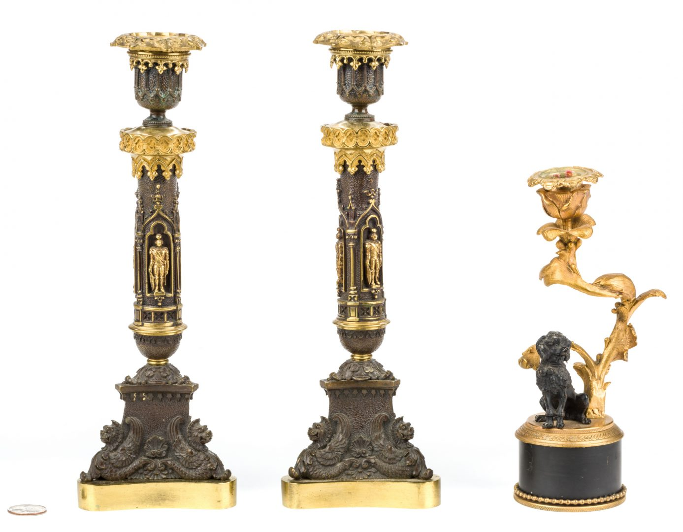 Lot 725: 3 Parcel Bronze Candlesticks