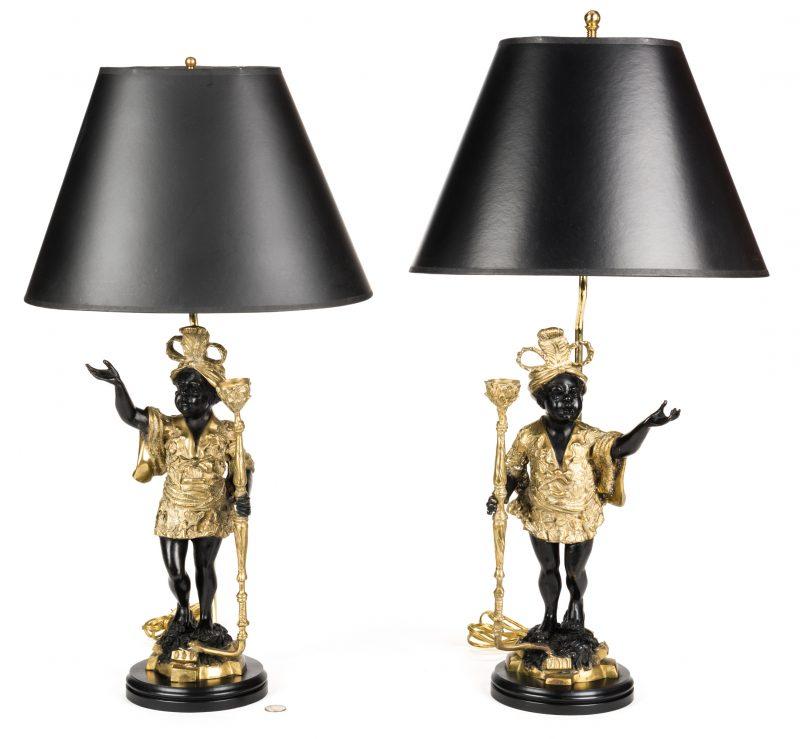 Lot 726: Pair Blackamoor Lamps