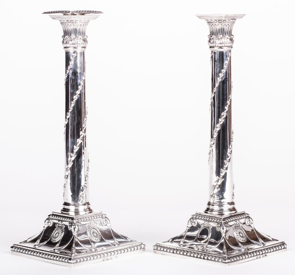 Lot 76: Pr. 18th c. Scottish Sterling Candlesticks