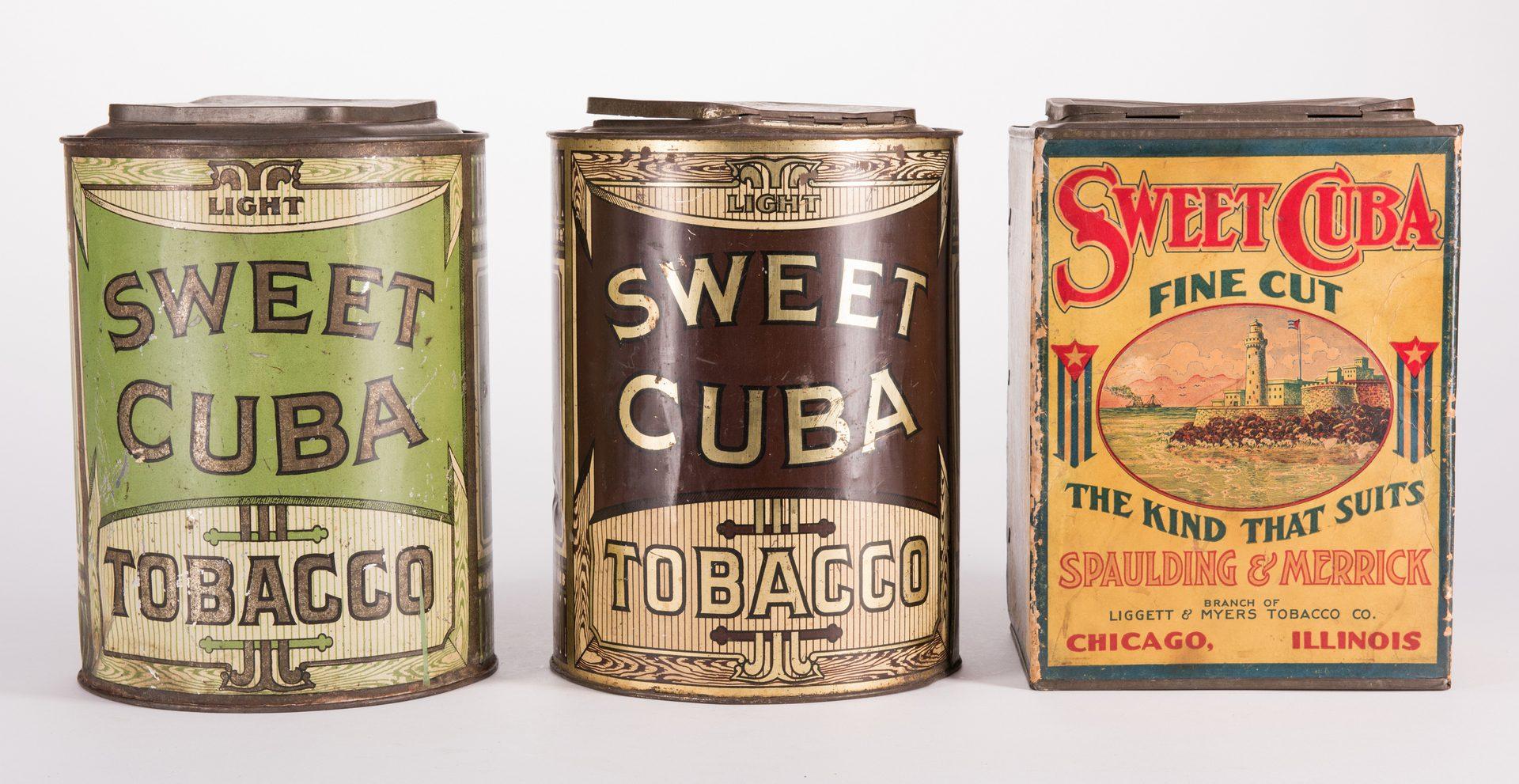 Lot 803: 5 Sweet Cuba Advertising Tobacco Tins