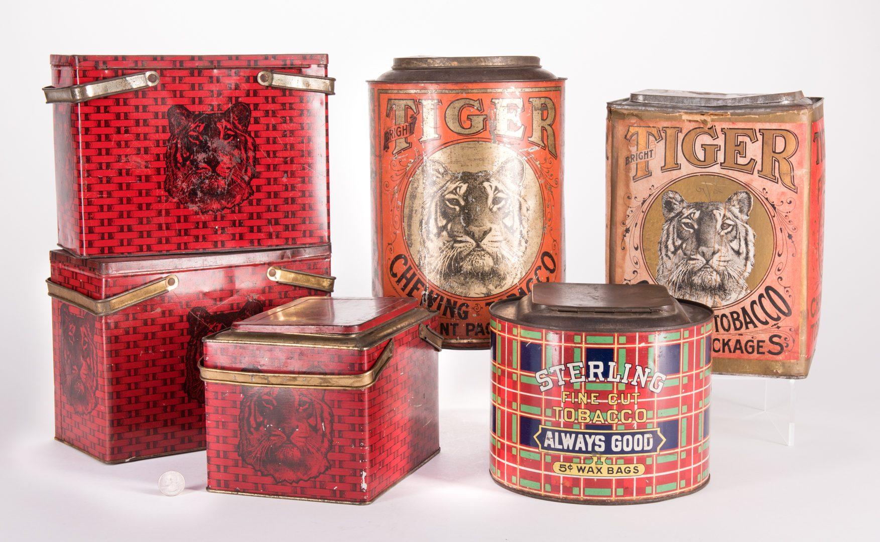 Lot 804: 6 Advertising Tobacco Tins, Tiger & Sterling