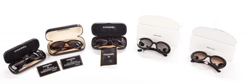 Lot 837: 5 Pairs of Designer Sunglasses, inc. Prada, Chanel