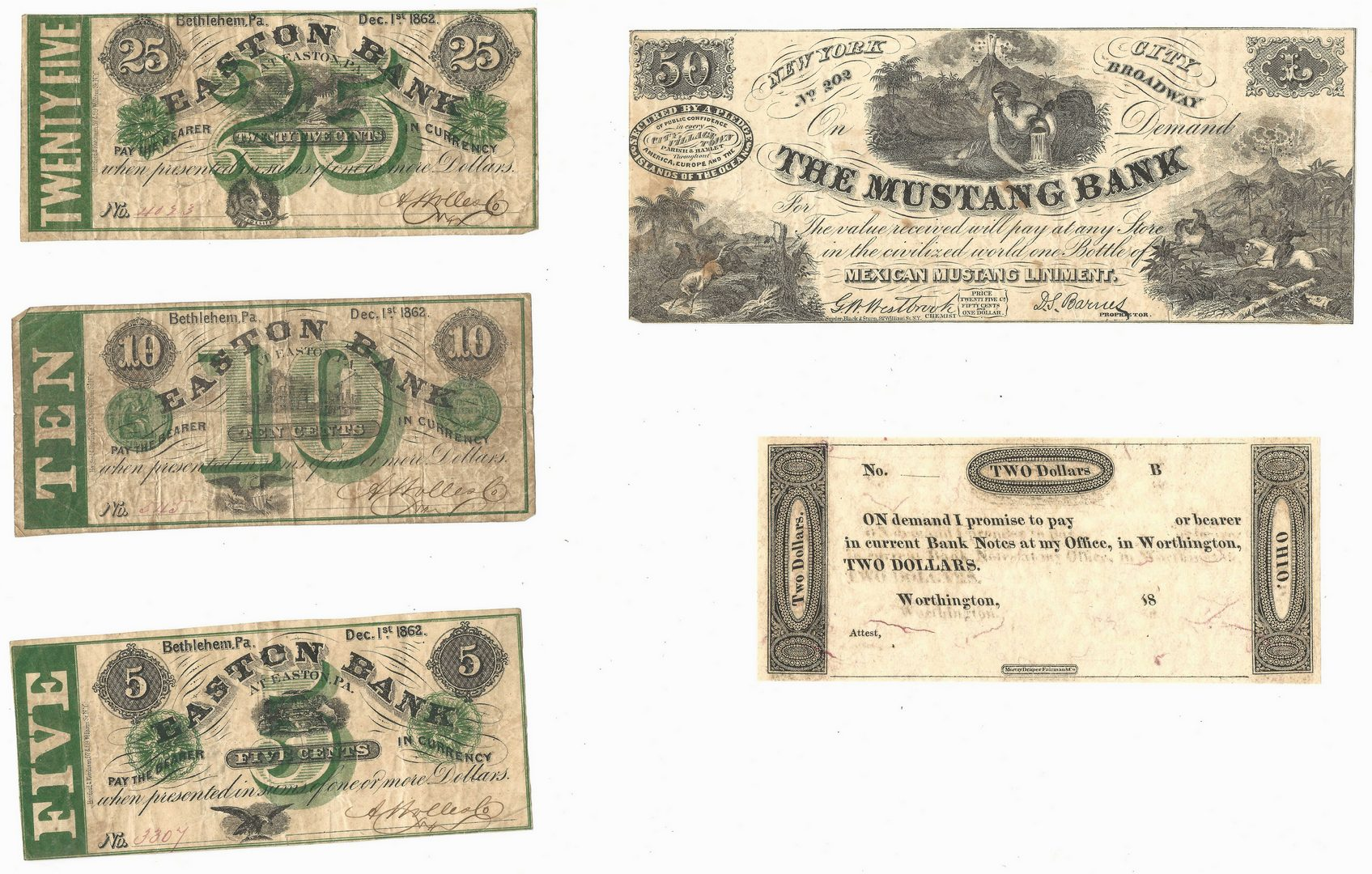 Lot 890: Northern Currency and Newspaper, inc. Pre Civil War, 6 items