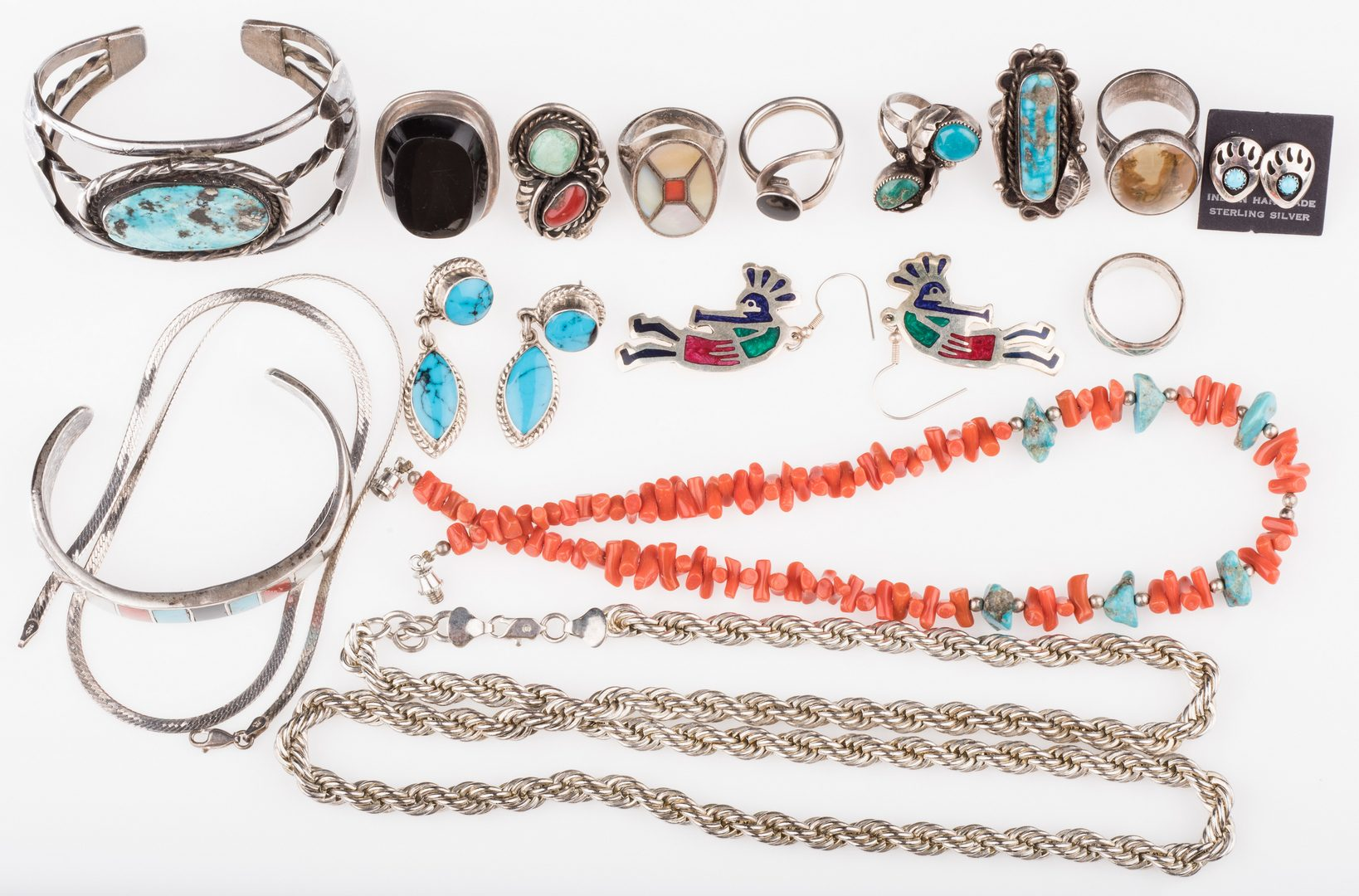 Lot 897: Native American & Mexican Jewelry, 16 items
