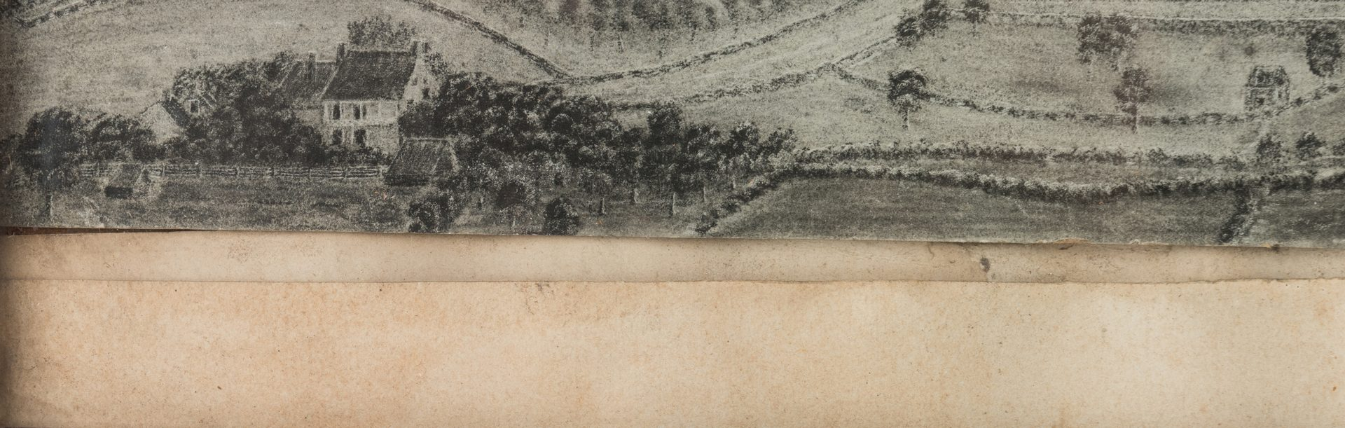 Lot 439: 19th C. Bird's Eye View, Univ. of Virginia and Charlottesville from Lewis Mountain
