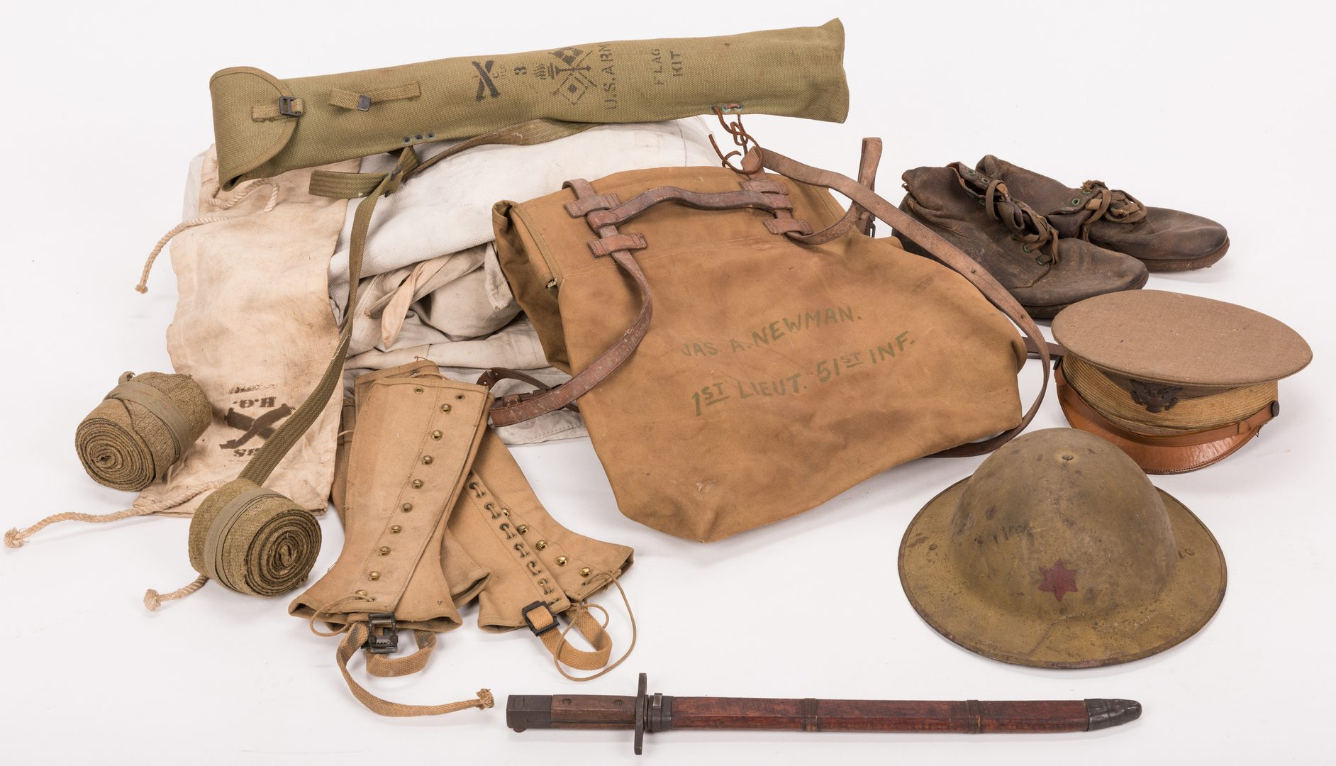 Lot 113: 13 WWI U.S. Military Equipment Items, J. A. Newman