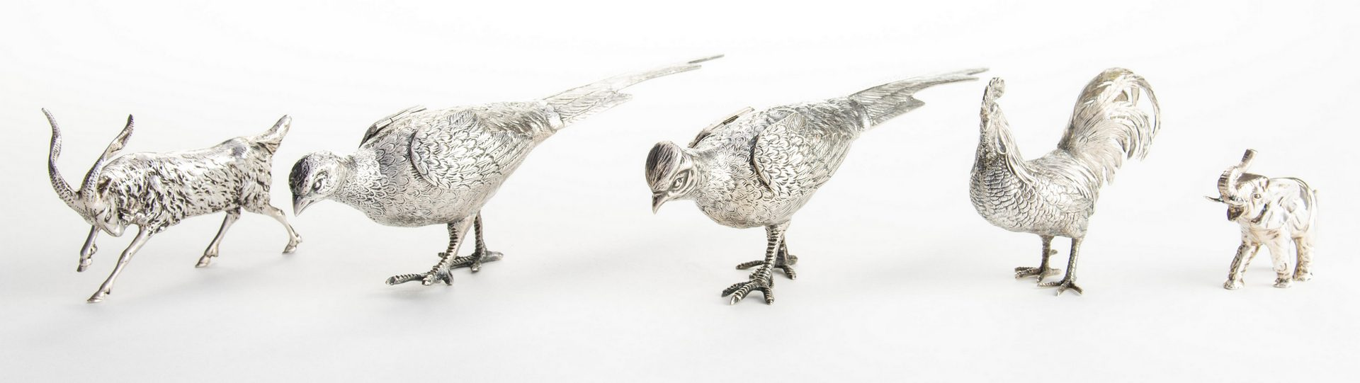 Lot 123: 5 Silver Animals and Birds