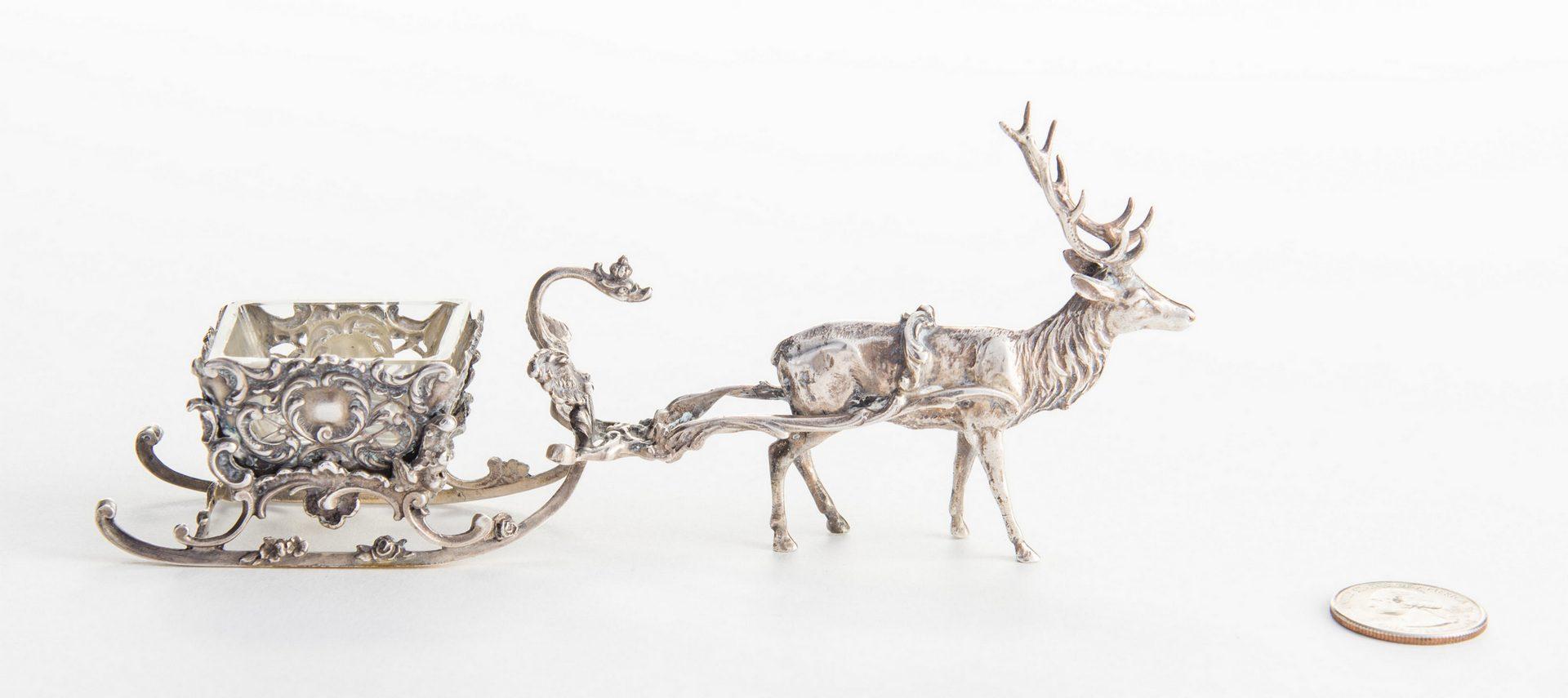 Lot 124: Sterling Reindeer Sleigh Salt Cellar