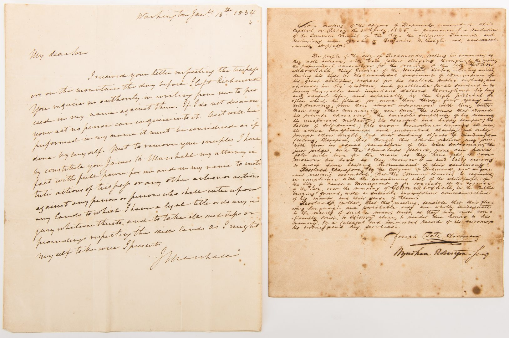 Lot 258: 2 John Marshall Related Letters, inc. 1 signed
