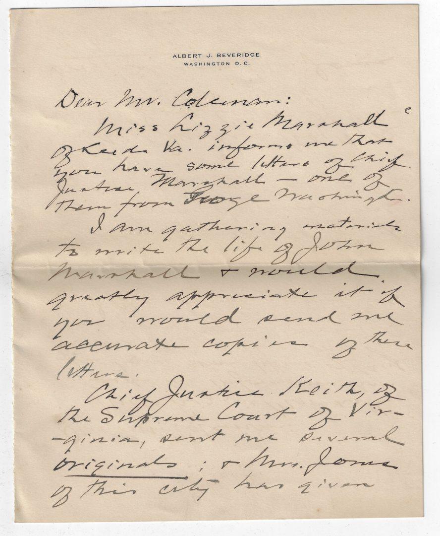 Lot 264: George Washington Signed Letter to John Marshall