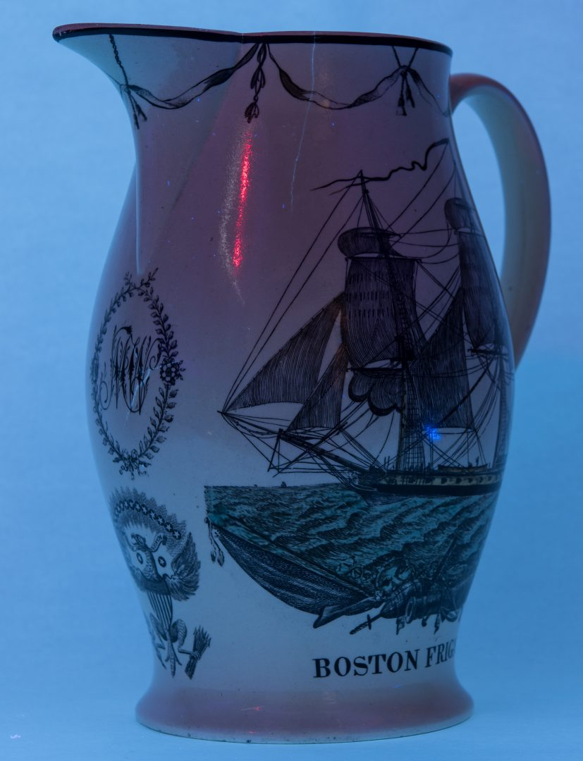 Lot 238: Historical Liverpool Polychrome Jug, Boston Frigate