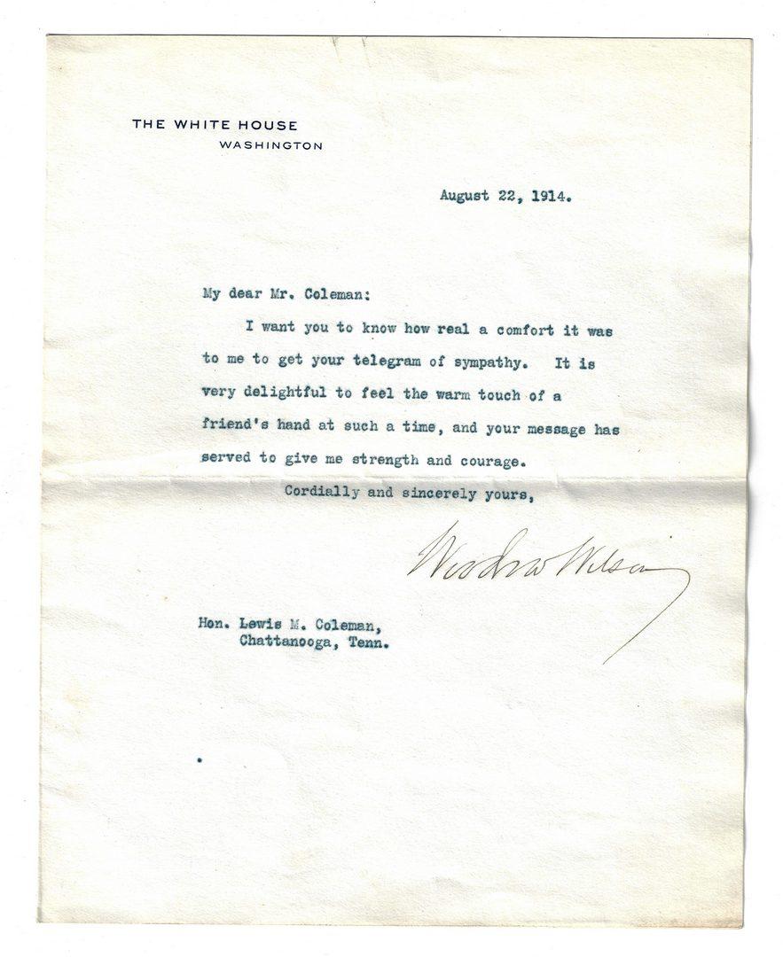 Lot 287: 7 President Woodrow Wilson TLS