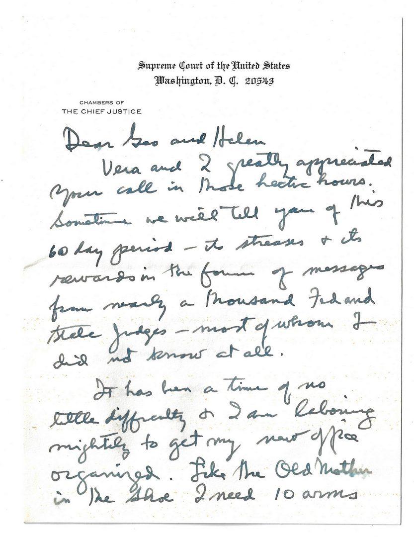 Lot 290: Judge George T. Washington archive inc. Truman, Eleanor Roosevelt, Justice Warren Burger letters, 27 items