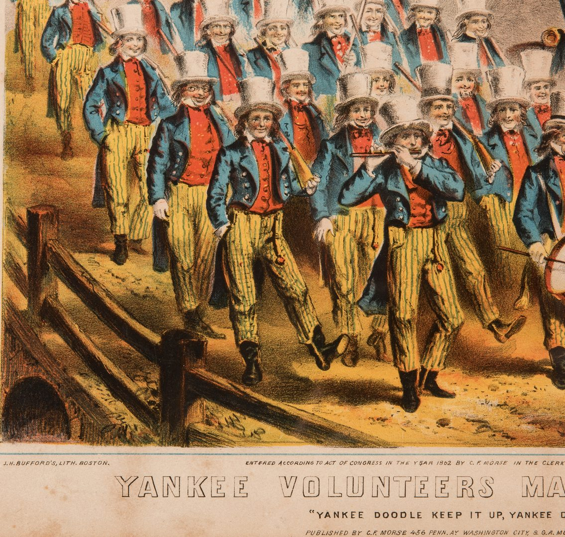 Lot 516: Chromolithographic Print, Yankee Volunteers Marching into Dixie, 1862