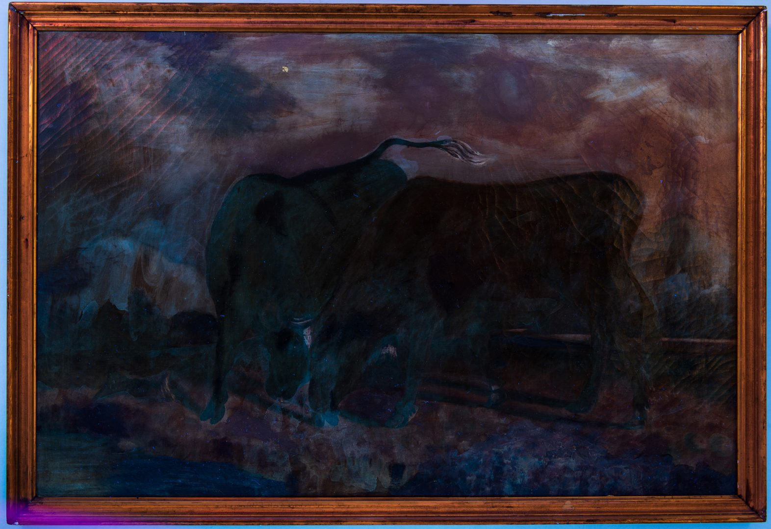 Lot 760: European Oil on Canvas of Bulls by Stream