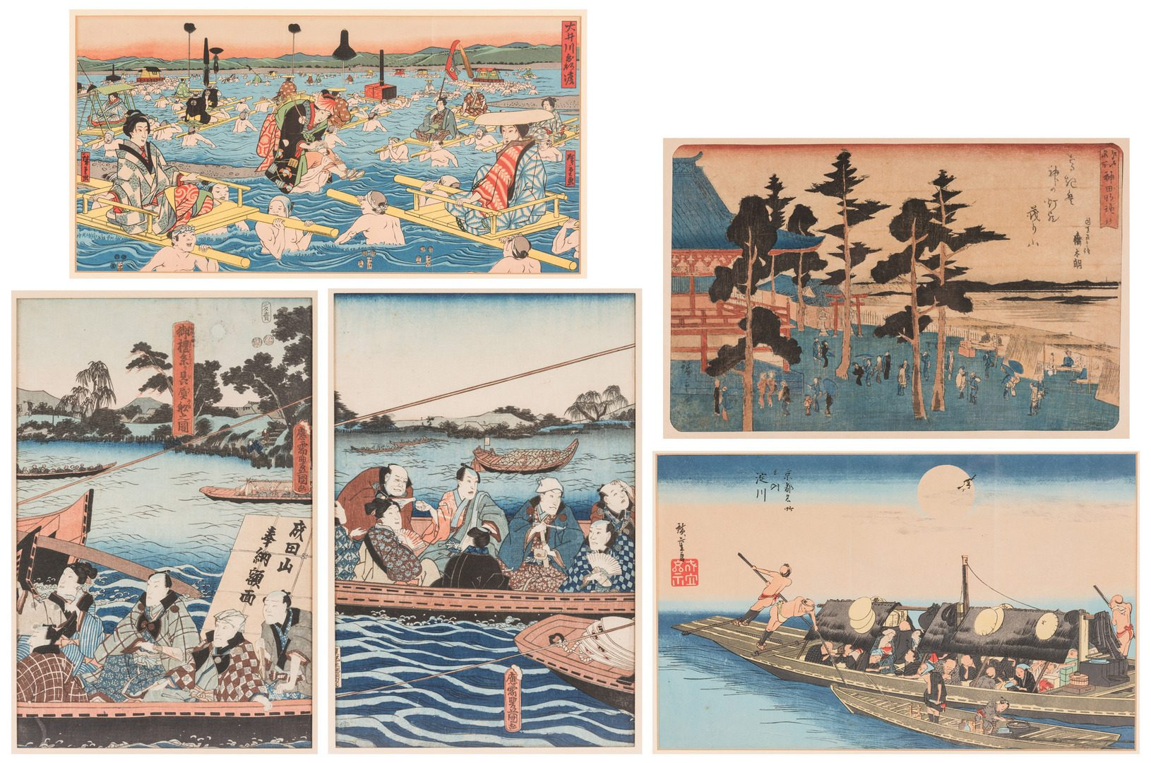 Lot 167: 5 Framed Japanese Woodblock Prints, inc. After Tokokuni