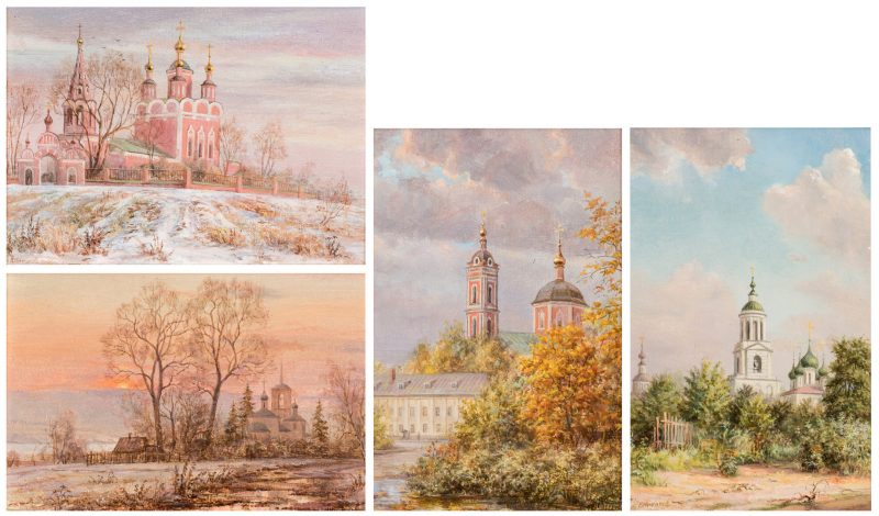 Lot 220: 4 Russian Miniature O/B Landscapes