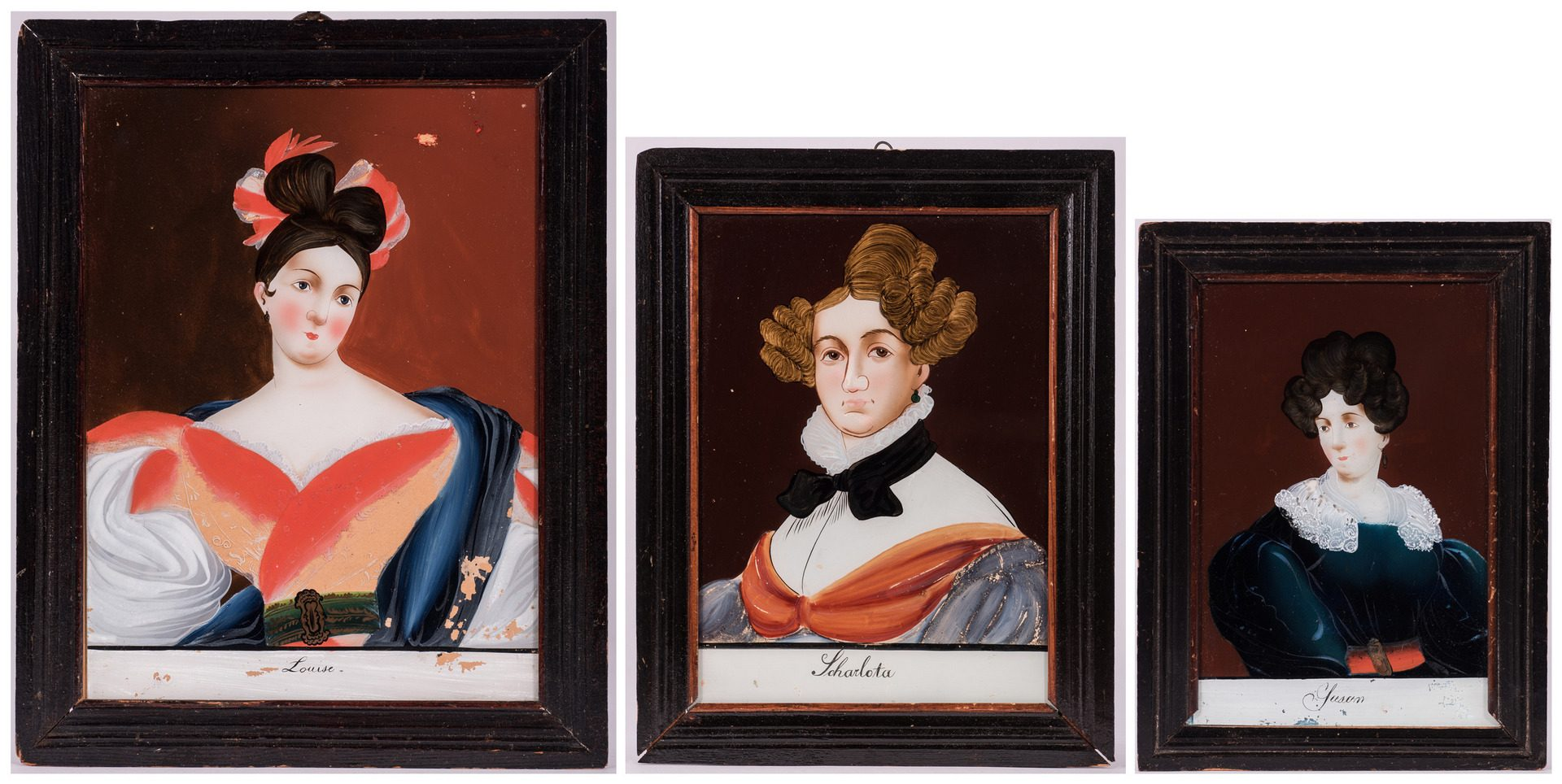 Lot 348: 3 American Reverse Paintings on Glass of Women