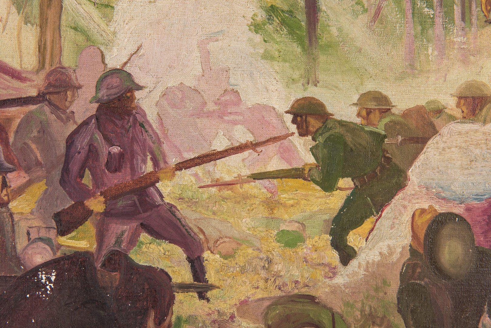 Lot 397: World War I Oil on Canvas Battle Scene