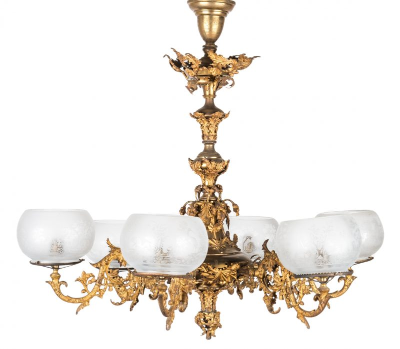 Lot 405: Historic TN Gilt Thistle Leaf Chandelier