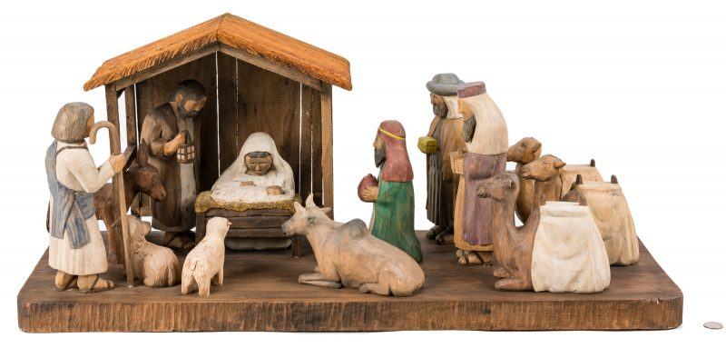 Lot 640: Roy Pace Folk Art Nativity Scene