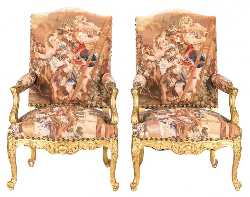 Lot 387: Pair Gilt Louis XV Style Fauteuils