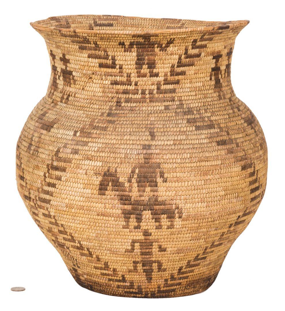 Lot 591: Large Apache Olla Basket, Figural decoration