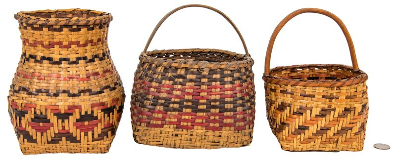 Lot 597: 3 Cherokee Rivercane Baskets