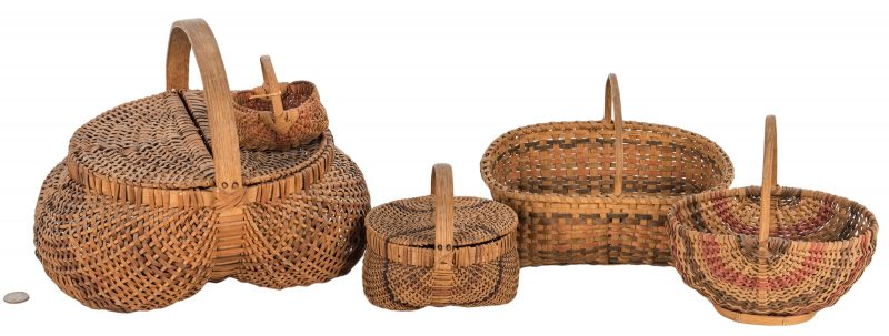 Lot 598: 5 Cherokee White Oak Baskets