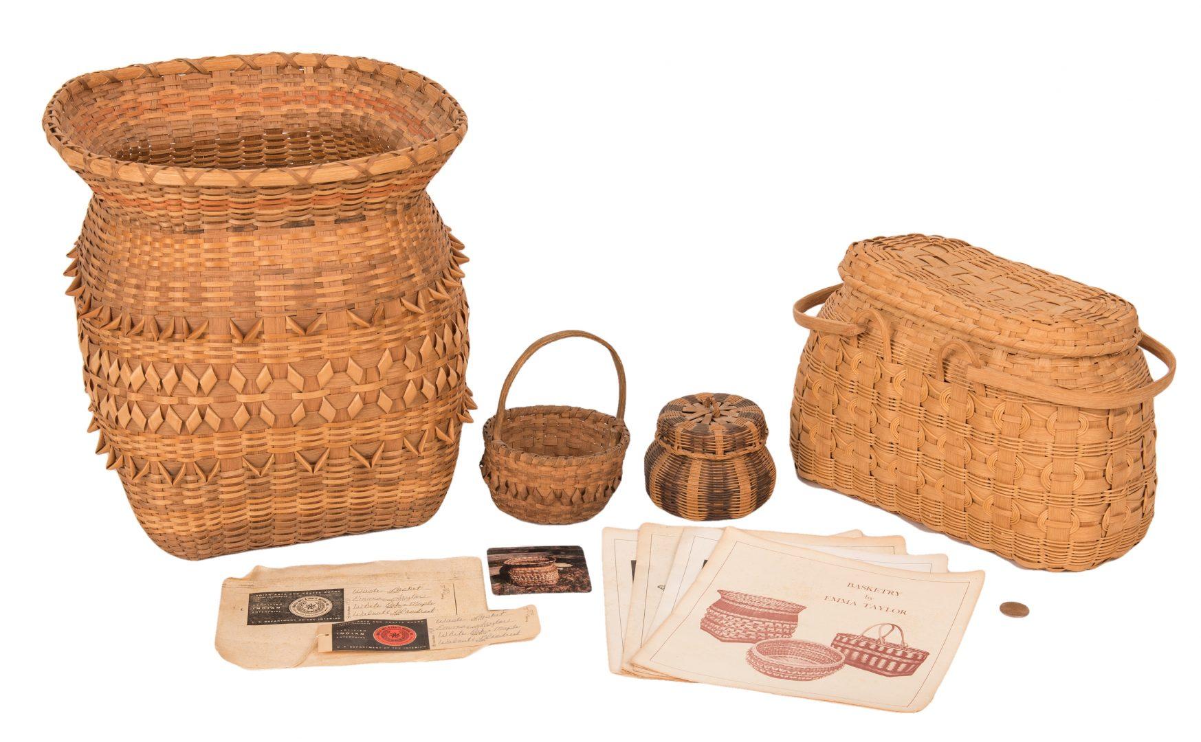 Lot 599: 4 Native American Cherokee Baskets, incl. Emma Squirrel Taylor