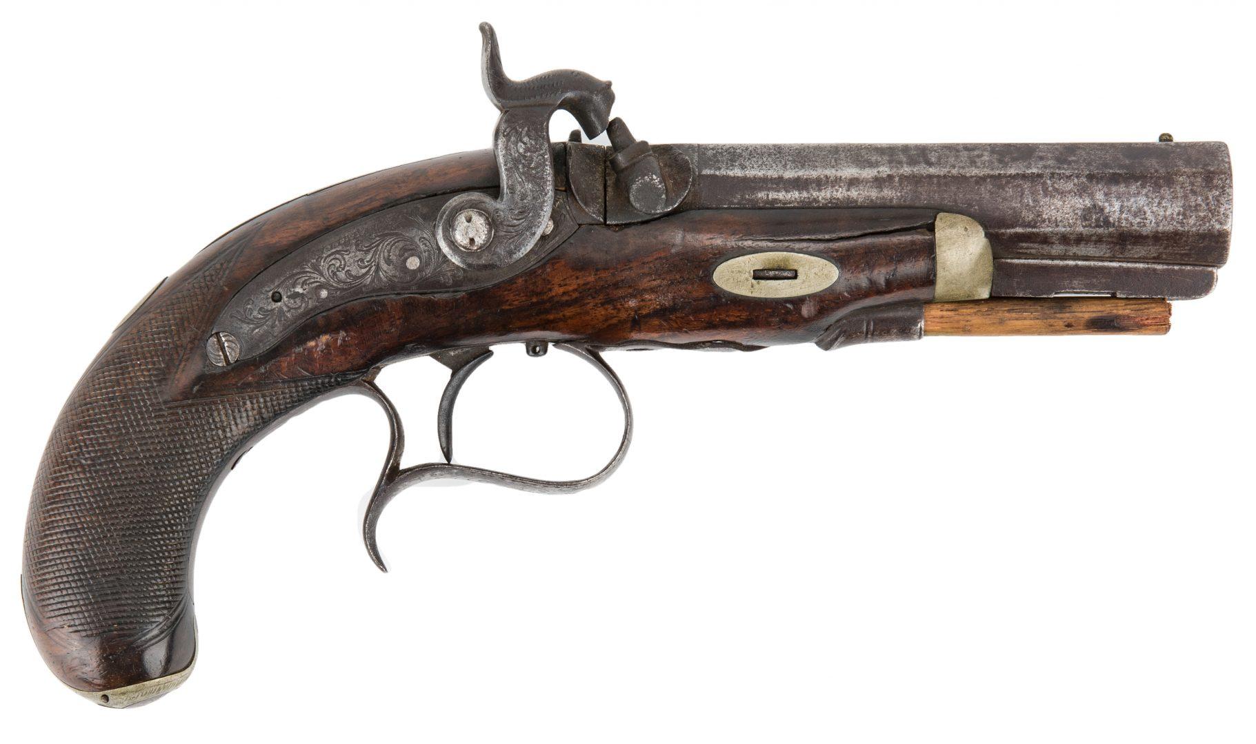 Lot 308: V. Libeau New Orleans Dealer Percussion Pocket Pistol, .54 Caliber