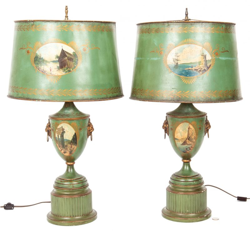 Lot 393: Pair French Green Tole Lamps