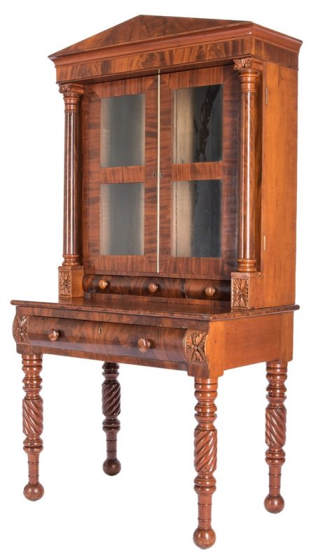 Lot 135: Classical Kentucky Secretary Bookcase