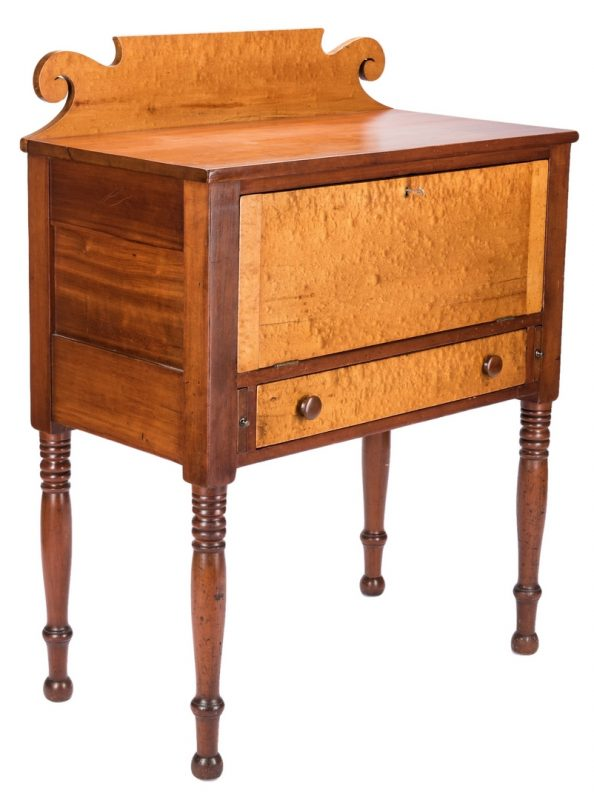 Lot 144: East TN Burgner Sheraton Desk, Figured Maple & Cherry