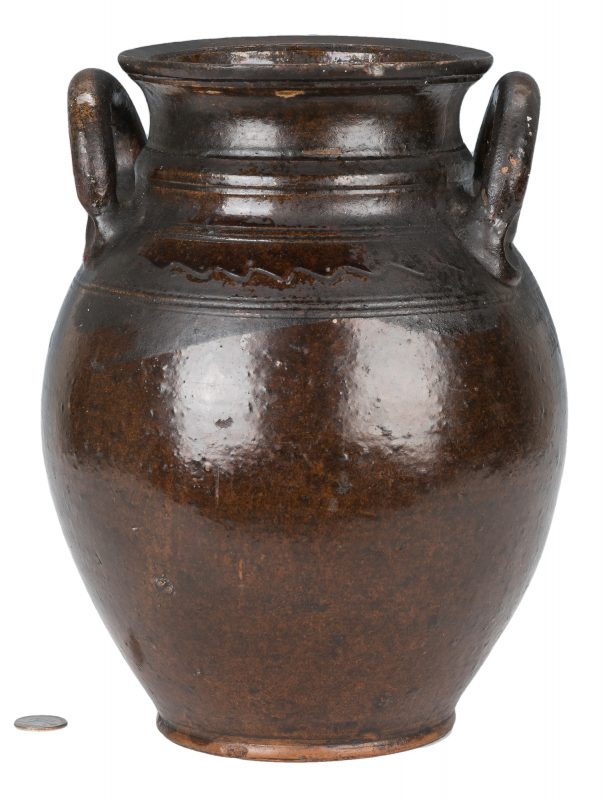 Lot 158: Southwest VA Earthenware Lead-Glazed Jar