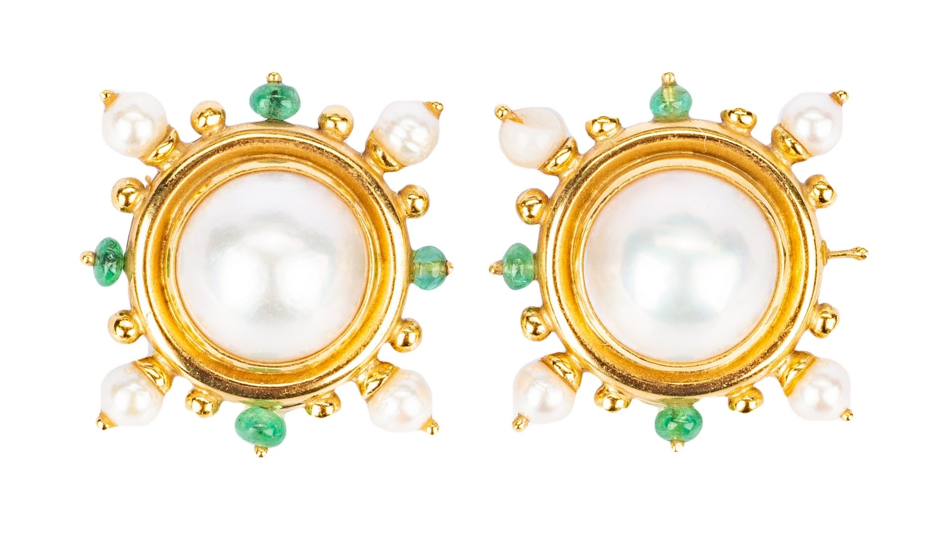 Lot 443: Elizabeth Locke Mabe Pearl Earrings