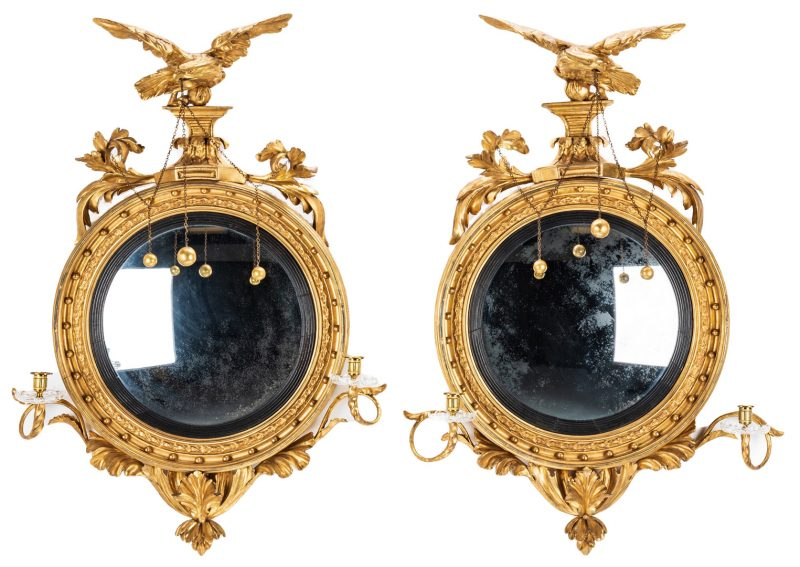 Lot 130: Pair of Federal Period Girandole Mirrors